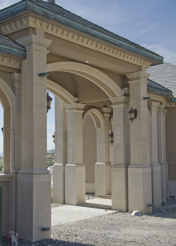 covered walkway with cast stone headers dentil banding and custom